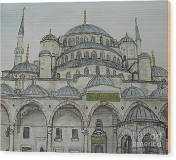 Wood Print featuring the painting Blue Mosque Istanbul Turkey by Malinda  Prudhomme