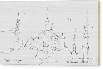 Blue Mosque Wood Print by Valerie Freeman