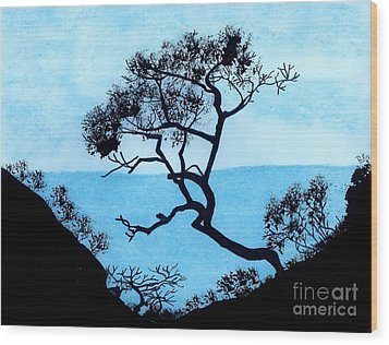 Wood Print featuring the drawing Blue Mountain by D Hackett