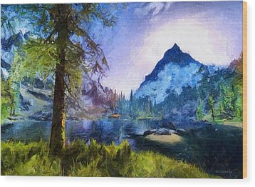 Blue Mountain Of Skyrim Wood Print