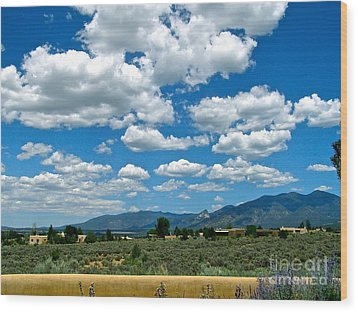 Blue Mountain Skies Wood Print