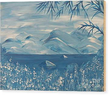 Blue Mountains Wood Print by Judy Via-Wolff