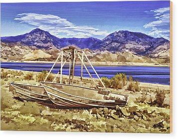 Wood Print featuring the painting Blue by Muhie Kanawati
