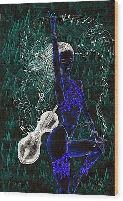 Blue Music. Wood Print by Kenneth Clarke