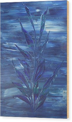Wood Print featuring the painting Blue by Nico Bielow