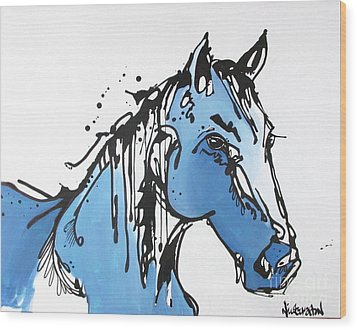 Wood Print featuring the painting Blue by Nicole Gaitan