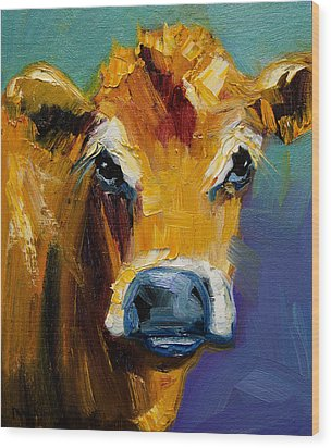 Blue Nose Cow Wood Print