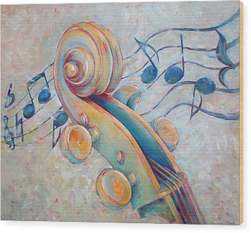 Blue Notes - Cello Scroll In Blues Wood Print by Susanne Clark