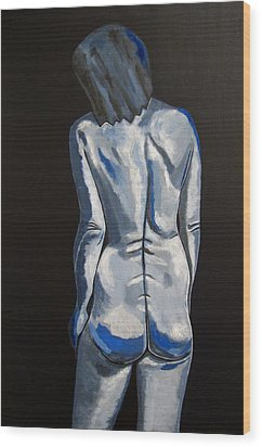 Blue Nude Self Portrait Wood Print by Sandra Marie Adams