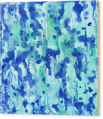 Blue On Blue Wood Print by Rosie Brown