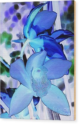 Blue Orchids Wood Print by Kathleen Struckle