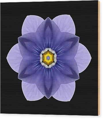 Blue Pansy I Flower Mandala Wood Print