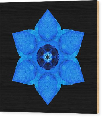 Blue Pansy II Flower Mandala Wood Print