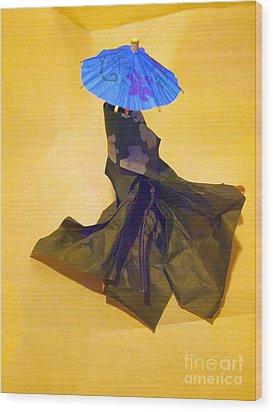 Blue Parasol Wood Print by Nancy Kane Chapman