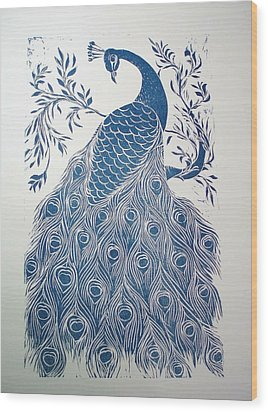 Blue Peacock Wood Print by Barbara Anna Cichocka