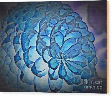 Blue Pine Cone 2 Wood Print