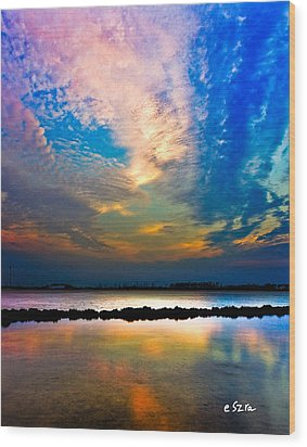 Wood Print featuring the photograph Blue Pink Clouds Reflection Lake Landscape Vertical Panorama Art Prints by Eszra Tanner