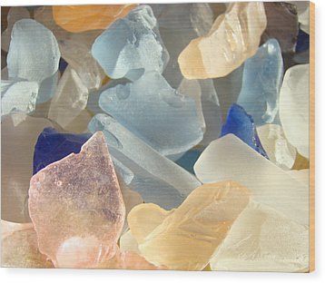 Blue Pink Orange Seaglass Beach Garden Wood Print by Baslee Troutman