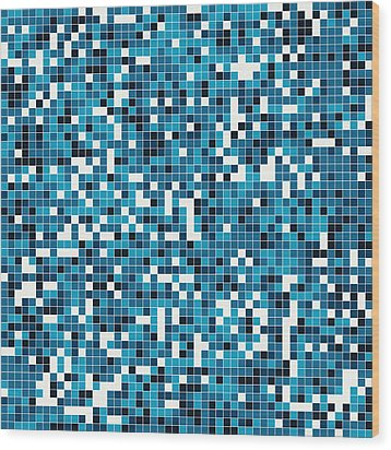 Blue Pixel Art Wood Print by Mike Taylor