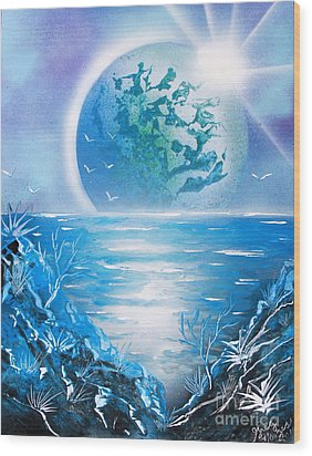 Wood Print featuring the painting Blue Moon by Greg Moores