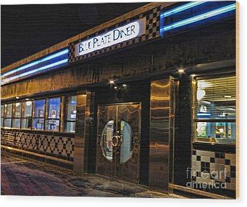 Blue Plate Diner Wood Print by Nancy De Flon