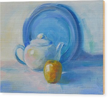 Blue Plate Special Wood Print by Valerie Lynch