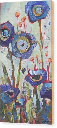 Blue Poppies I Wood Print