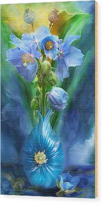 Blue Poppies In Poppy Vase Wood Print by Carol Cavalaris
