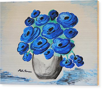 Blue Poppies Wood Print by Ramona Matei
