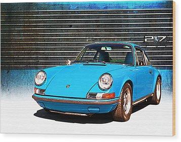 Blue Porsche 911 Wood Print