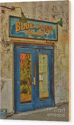 Blue Post Billiards Wood Print by Bob Sample