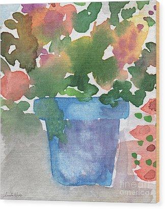 Blue Pot Of Flowers Wood Print by Linda Woods