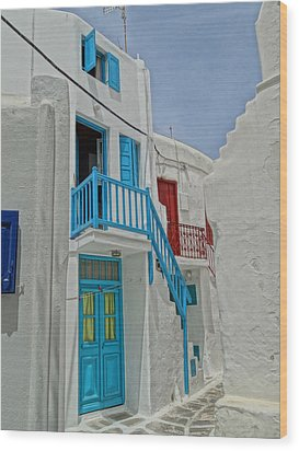 Blue Railing With Stairway In Mykonos Greece Wood Print by M Bleichner