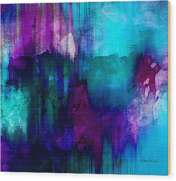 Blue Rain  Abstract Art   Wood Print