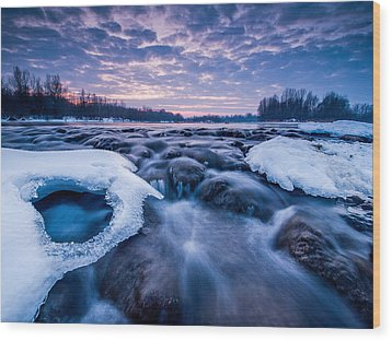Blue Rapids Wood Print by Davorin Mance