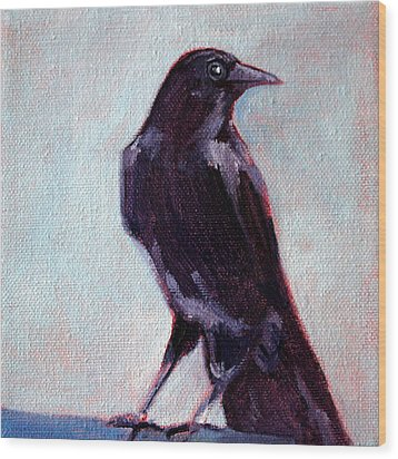 Blue Raven Wood Print