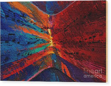 Wood Print featuring the digital art Blue Red Intermezzo by Lon Chaffin
