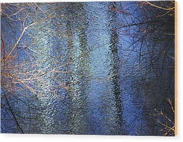 Blue Reflections Of The Patapsco River Wood Print by Cara Moulds