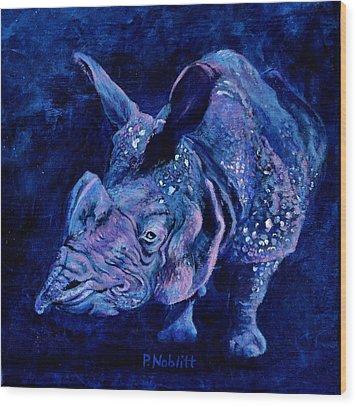 Indian Rhino - Blue Wood Print by Paula Noblitt