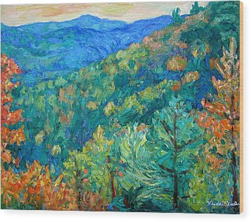 Blue Ridge Autumn Wood Print by Kendall Kessler