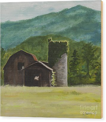 Blue Ridge Barn Wood Print by Carla Dabney