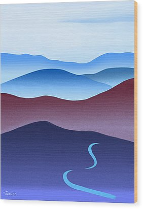 Blue Ridge Blue Road Wood Print