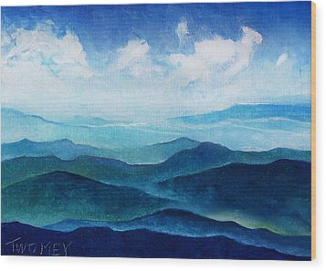 Blue Ridge Blue Skyline Sheep Cloud Wood Print