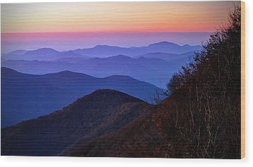 Blue Ridge Dawn Wood Print by Jaki Miller