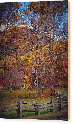 Blue Ridge Fenced In Fall Wood Print by Cathy Shiflett