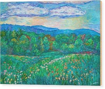 Blue Ridge Meadow Wood Print by Kendall Kessler