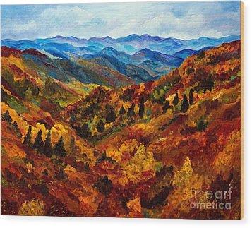 Blue Ridge Mountains In Fall II Wood Print by Julie Brugh Riffey