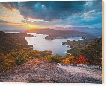 Blue Ridge Mountains Sunset - Lake Jocassee Gold Wood Print by Dave Allen