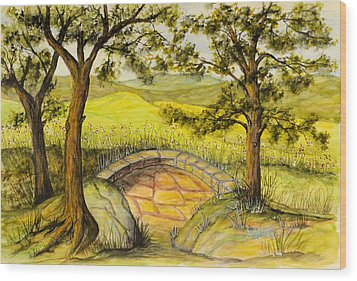 Blue Ridge Overlook Wood Print by Barbara Oberholtzer