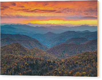 Blue Ridge Parkway Fall Sunset Landscape - Autumn Glory Wood Print